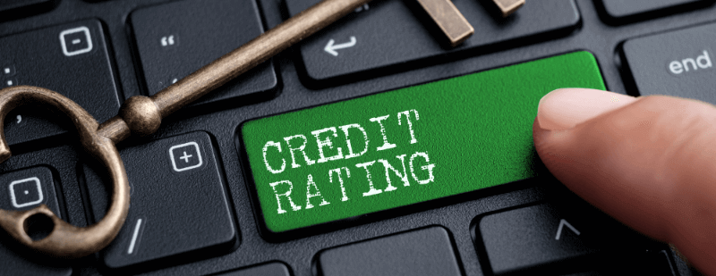 the word credit rating on a computer keyboard