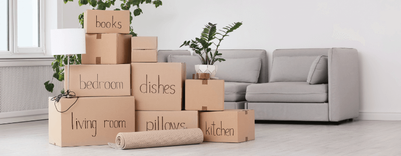 moving boxes in a new home